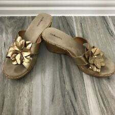 G.H. Bass & Co Gold Tan Floral LeatherWedge Sandals Women's Size 7 1/2 7.5