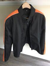 House of Leather Lined Nylon Black / Orange Motorcycle Harley Jacket 40 Small
