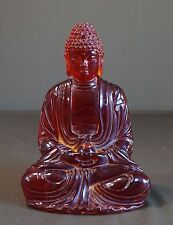 Very Fine Large Amber Color Translucent Resin Chinese Sitting Buddha Figure