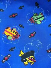 VINTAGE, FIGHTER PLANES, blue cotton mix fabric sold/PER METRE/