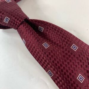 Donald J. Trump Mens Necktie Burgundy Blue Geometric 100% Silk Tied Classic