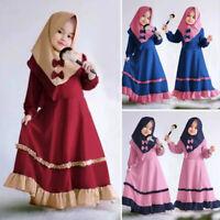 New Muslim Kids Girls Prayer Long Maxi Dress Hijab Set Kaftan Abaya Arab Clothes