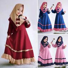Ramadan Kid Girl Abaya Prayer Set Hijab Dress Muslim Robe Kaftan Jilbab 2pcs Set