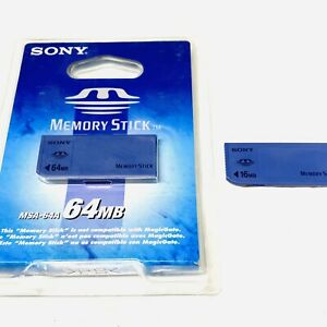 New Sony MSA64A 64 MB Memory Stick Media (MSA-64A) Sealed Blister-Pack & 16 MB