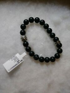 King Baby Studio Silver Onyx Beaded Men Bracelet