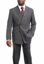 Mens 44R Men's Arthur Black Classic Fit Gray Striped Double Breasted Pleated ...