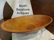 Antique 1800s New England Cherry Wood Hand Hewn Trencher Dough Bowl aafa