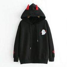 Women Gothic Sweatshirts Hoodies Bat Printed Long Sleeve Pullover Casual Tops B