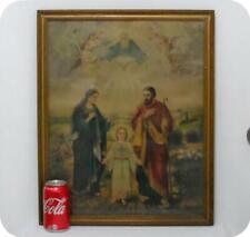 Antique Vtg Big Mary Joseph Jesus Framed Picture Catholic Print Religious Decor