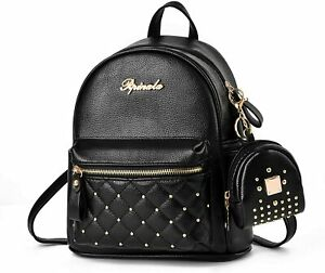 Backpack Mini Purse Daypacks Vegan Leather Women Black Studded Quilted NEW