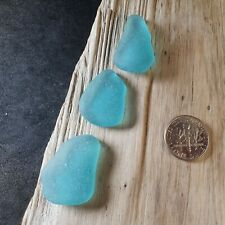 3 Large Turquoise Pcs with Imperfections - Genuine Icelandic Sea Glass