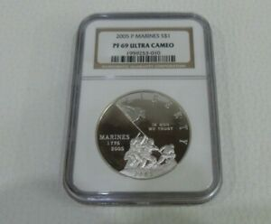 USA  2005 P MARINES OUNCE SILVER PROOF $1 PF69 ULTRA CAMEO NGC SLABBED COIN