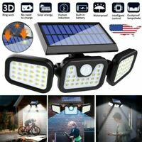 LED 3 Head Outdoor Solar PIR Motion Sensor Wall Flood Light Garden Security Lamp