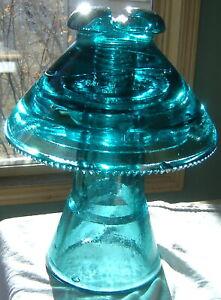 Hemingray Coolie Hat Insulator CD 304 & CD 310 Blue Nice!