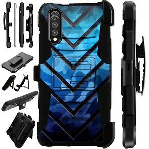 Luxguard For LG Velvet 5G Phone Case Holster Kickstand Cover BLUE METAL V
