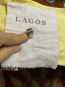 Vintage Lagos Caviar Sterling Silver 18k Gold Ring Size 6 1/4 beautiful fabulous