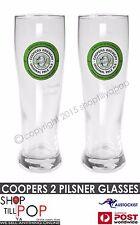 COOPERS Pale Ale 2 x PILSNER Beer Glasses 350mls BNWOB Aussie MAN Cave Party