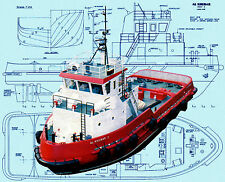 "Model Scale Tug Boat Plans 40"" Radio Control Harbour Tug Plan & Build Notes"