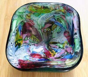 Vintage Square Murano Tutti Frutti Italian Art Glass Bowl 1950s Green Fratelli