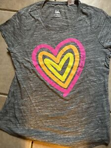 Justice Girl's size 14/16 Plus Gray Love Tshirt With Neon Hearts NWT
