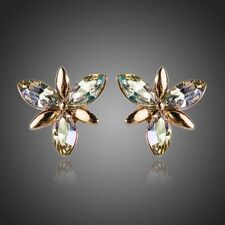 Sparkly Shiny Multi Colored Austria Crystal 14k Gold Plated Stud Flower Earrings