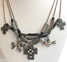 Three Strand Charms Necklace Cross Angel Dove Joy Love Hope Health Silver Black