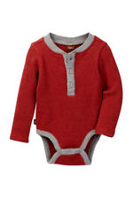 Tea Collection Infant 18-24M Red Gray Themal Bodysuit Knit Long Sleeve Shirt