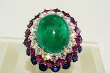 $71590 33.77Ct Emerald, African Ruby, Ceylon Sapphire & Diamond Flower Ring Plat