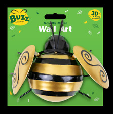 "6"" Metal Bumble Bee Garden Wall Decorations Ornament Fence Wall Outdoor Summer"
