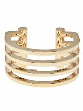 YSL YVES ~ SAINT LAURENT ~Gold Plated Four Ring Cut Out Cuff  Bracelet 1490.00