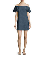 ALICE AND OLIVIA TULA OFF-THE-SHOULDER DENIM SHIFT DRESS MEDIUM