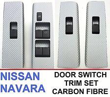 Nissan Navara D40/R51 (2004-2014) 4 Porte Fenêtre Interrupteur Trim Set-Fibre de Carbone