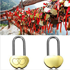 Solid Padlock Lover Lock Engraved Double Heart Valentines Anniversary Day Gift