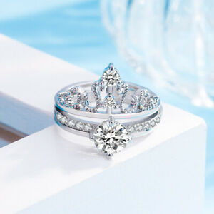 Open Band Crown Engagemnt Rings Sets Large AAA CZ Girls Engagement Jewelry 2pcs