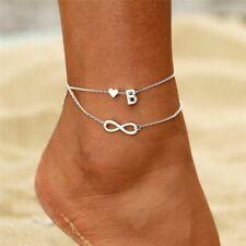 Boho Initial Anklet Heart Infinity Silver Ankle Bracelet On Leg Chain 26 Letter