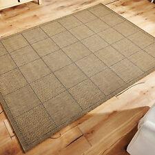 Checked Flatweave Kitchen Rugs Runners Anti Slip Back GEL Natural 080 X 150 Cm