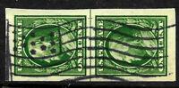 """Flag & Stars"" Fancy Cancel Jumbo Margin Imperf Pair 1 Cent Franklin US 87D11"
