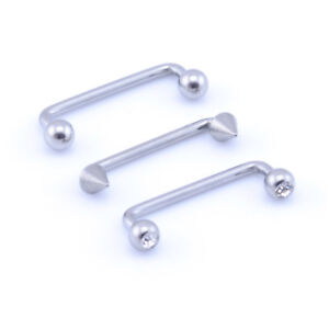 Staple Surface Piercing Barbell Bar 1.2mm(16g) 1.6mm(14g)  Surgical Steel
