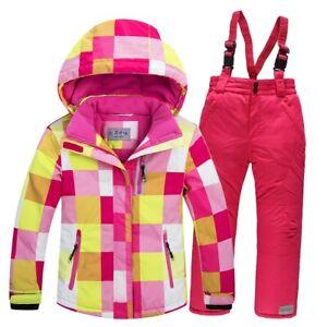 -30 Kids Snow suit Coat Skisuit outdoor Gilr/Boy skiing snowboarding jacket Pant