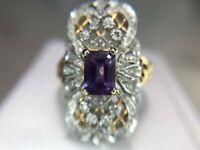 Vintage 14k Yellow Gold Purple Amethyst Round Diamond Filigree Cocktail Ring