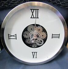 """GEARS  WALL CLOCK 14"""" DIAMETER WHITE DIAL W/ MOVING GEARS IN CENTER 42826"""