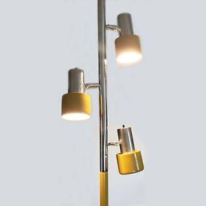 Mid Century Modern Tension Pole Lamp 9 Ft Harvest Gold & Chrome