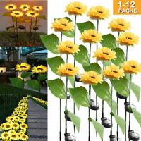 12Pcs Solar Powered Sunflower Shaped Home Garden Light Waterproof Yard Path Lamp