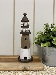 Lighthouse Coastal Beach Hamptons Rustic Home Decor Paulownia Wood 27cmH
