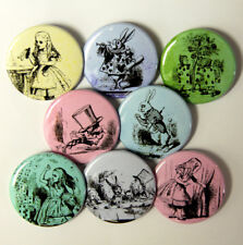 8 ALICE IN WONDERLAND COLORFUL - Buttons Badges 1.5""