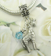 Silver Aquamarine Giraffe Dangle Beads European Style