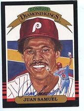 1985 Donruss Diamond KIng Super Baseball #23 Juan Samuel Autographed Hologram