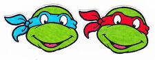 """2.5"""" Tmnt Teenage Mutant Ninja Turtles Faces Red Fabric Applique Iron On"""
