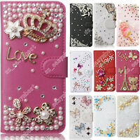 For Motorola Case Leather Wallet Cell Phone Cases Flip Cover 3D Diamond Bling