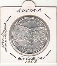 AUSTRIA 50 SCH.1963 600 ANNI TIROLO OSTERREICH  ARGENTO